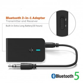BLETERLAXY 2 in 1 Audio Bluetooth 5.0 Receiver Transmitter 3.5mm - BABT-6 - Black