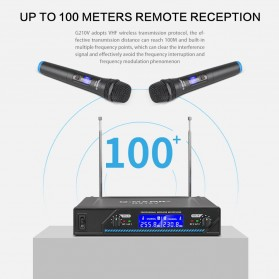 G-MARK Audio Console Karaoke KTV Mixer 2 Channel with 2 Wireless Mic - G210V - Black - 2