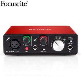 Focusrite Scarlett Solo 2 USB Audio Interface Sound Card Recording Guitar - Black/Red