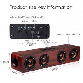 TOPROAD Soundbar Bluetooth Speaker Stereo Subwoofer - W8 - Brown - 4