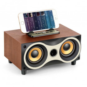 TOPROAD Portable Bluetooth Speaker Subwoofer FM Radio Wood Design 2000mAh - XM6 - Brown