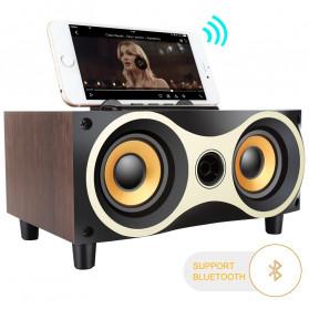 TOPROAD Portable Bluetooth Speaker Subwoofer FM Radio Wood Design 2000mAh - XM6 - Brown - 2
