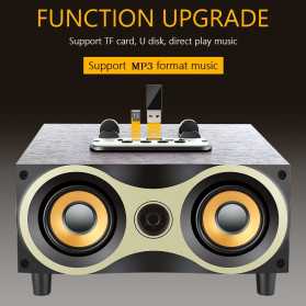TOPROAD Portable Bluetooth Speaker Subwoofer FM Radio Wood Design 2000mAh - XM6 - Brown - 3
