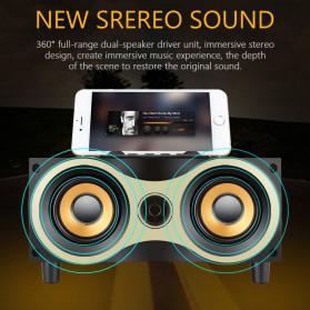 TOPROAD Portable Bluetooth Speaker Subwoofer FM Radio Wood Design 2000mAh - XM6 - Brown - 4