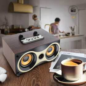 TOPROAD Portable Bluetooth Speaker Subwoofer FM Radio Wood Design 2000mAh - XM6 - Brown - 6