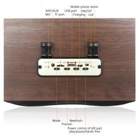 TOPROAD Portable Bluetooth Speaker Subwoofer FM Radio Wood Design 2000mAh - XM6 - Brown - 8