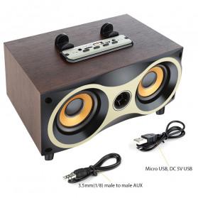 TOPROAD Portable Bluetooth Speaker Subwoofer FM Radio Wood Design 2000mAh - XM6 - Brown - 10