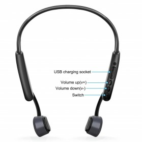 S.Wear Sport Bluetooth Headphones Headset Bone Conduction - Z8 - Black - 5