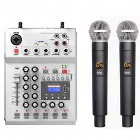 Microphone - LEORY Professional Console Karaoke DJ KTV Mixer 48V Phantom Power with 2 Wireless Microphone - F-12T - Silver