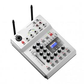 LEORY Professional Console Karaoke DJ KTV Mixer 48V Phantom Power with 2 Wireless Microphone - F-12T - Silver - 2