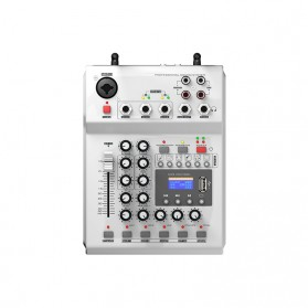 LEORY Professional Console Karaoke DJ KTV Mixer 48V Phantom Power with 2 Wireless Microphone - F-12T - Silver - 3