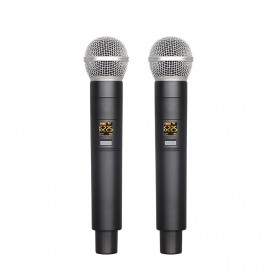 LEORY Professional Console Karaoke DJ KTV Mixer 48V Phantom Power with 2 Wireless Microphone - F-12T - Silver - 4