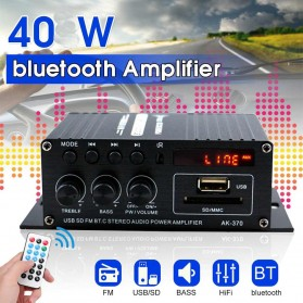 Leory Penguat Daya Audio Bluetooth Mobil Car Audio Power Amplifier 12V 40W - AK370 - Black