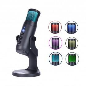 LEORY Microphone Condenser USB Mikrofon Kondensor Studio RGB Light - JD-950 - Black