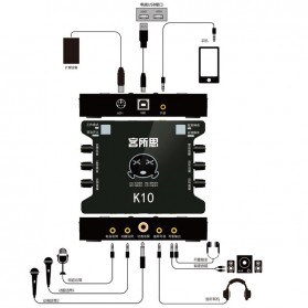 XOX Audio USB External Soundcard Live Boardcast Microphone Headset - K10 - Black - 7