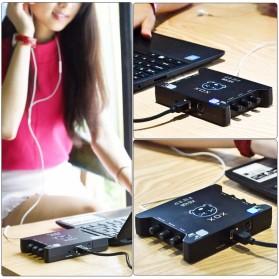 XOX Audio Interface USB External Soundcard Live Boardcast Microphone Headset - KS108 - Black - 3