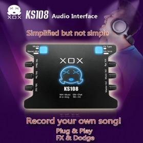XOX Audio Interface USB External Soundcard Live Boardcast Microphone Headset - KS108 - Black - 4