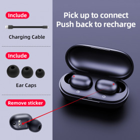 Haylou Earphone TWS Bluetooth 5.0 Fingerprint Touch with Charging Case - GT1 - Black - 3