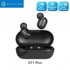 Haylou Earphone TWS Bluetooth 5.0 AptX Fingerprint Touch with Charging Base - GT1 Plus - Black