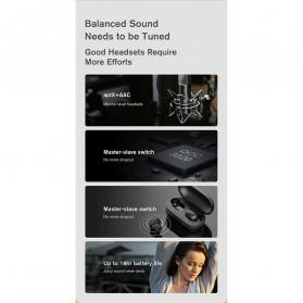 Haylou Earphone TWS Bluetooth 5.0 AptX Fingerprint Touch with Charging Base - GT1 Plus - Black - 8