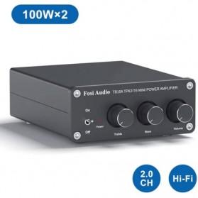 Fosi Audio Mini Amplifier 2 Ch Stereo Audio Hi-Fi Class D Integrated Amp 2x100W - TB10A - Black