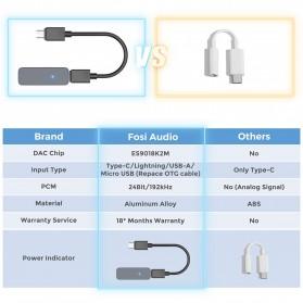 Fosi Audio Portable Headphone Amplifier USB to 3.5mm DAC ES9018K2M- Q1 - Black - 6