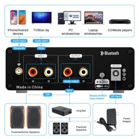 Fosi Audio Bluetooth 5.0 Preamplifier Mini HiFi Stereo Preamp Vacuum Tube - P1 Pro - Black - 3