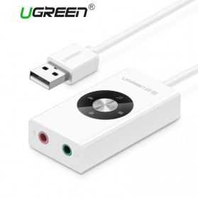 UGreen Sound Card External Laptop USB to Dual Jack 3.5mm - White