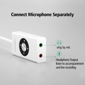 UGreen Sound Card External Laptop USB to Dual Jack 3.5mm - 30448 - White - 2