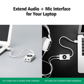 UGreen Sound Card External Laptop USB to Dual Jack 3.5mm - 30448 - White - 3