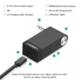 UGreen Bluetooth 4.1 Receiver With Microphone - Black - 7