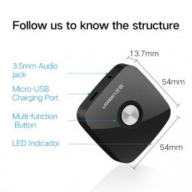 UGreen Bluetooth 4.1 Receiver Audio Adapter - Black - 7