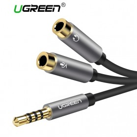 UGREEN Kabel Audio Splitter Jack 3.5mm 2 Port Earphone & Microphone - 30619 - Gray