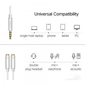 UGREEN Kabel Audio Splitter Jack 3.5mm 2 Port Earphone & Microphone - 30619 - Gray - 4