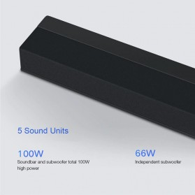 Xiaomi Soundbar Home Theater 2.1 Subwoofers 100W Bluetooth 5.0 -MDZ-35-DA - Black - 4