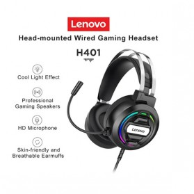 Lenovo Gaming Headphone Headset Over Ear 3.5mm + USB Wired - H401 - Black
