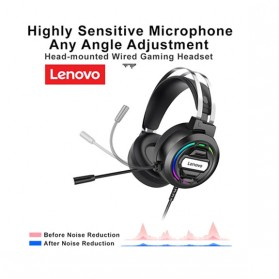 Lenovo Gaming Headphone Headset Over Ear 3.5mm + USB Wired - H401 - Black - 2