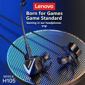 Lenovo Gaming In-ear Earphone Bass 3.5mm Jack with Mic - H105 - Black