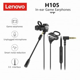 Lenovo Gaming In-ear Earphone Bass 3.5mm Jack with Mic - H105 - Black - 4