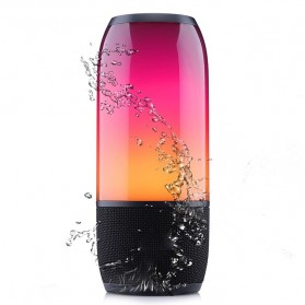 JDL Pulse 3 Portable Bluetooth Speaker Colorful LED Waterproof IPX7 - Black