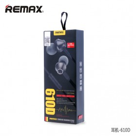Remax Earphone with Microphone & Volume Control - RM-610D - Black - 4