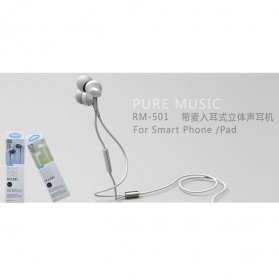 Remax Earphone with Microphone - RM-501 - Black - 4