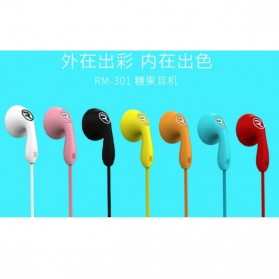 Remax Candy Earphone with Microphone - 301 - Black - 3