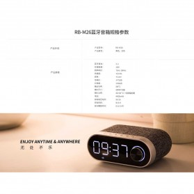 Remax Jam Weker Alarm Meja LED dengan Speaker Bluetooth - RB-M26 - Black - 4