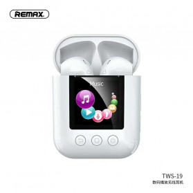Remax TWS Airpods Earphone Bluetooth with MP4 Music Player Charging Case - TWS-19 - White