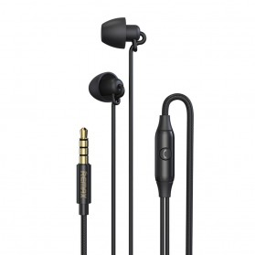 Remax Earphone Wired Stereo Music In-Ear 3.5mm dengan Mic - RM-208 - Black