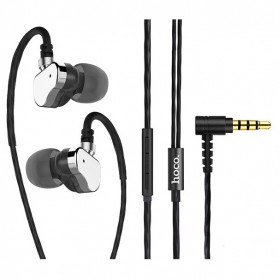 HOCO Earphone Dual Dynamic Bass Driver dengan Mic - M36 - Dark Gray