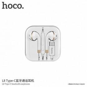 HOCO Bluetooh Earphone with Port USB Type C & Mic - L8 - White - 2