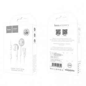 HOCO Acoustic Earphone Earpod USB Type C with Mic - L10 - White - 10