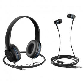 HOCO Enlighten Wired Headphone + Earphones with Mic - W24 - Blue